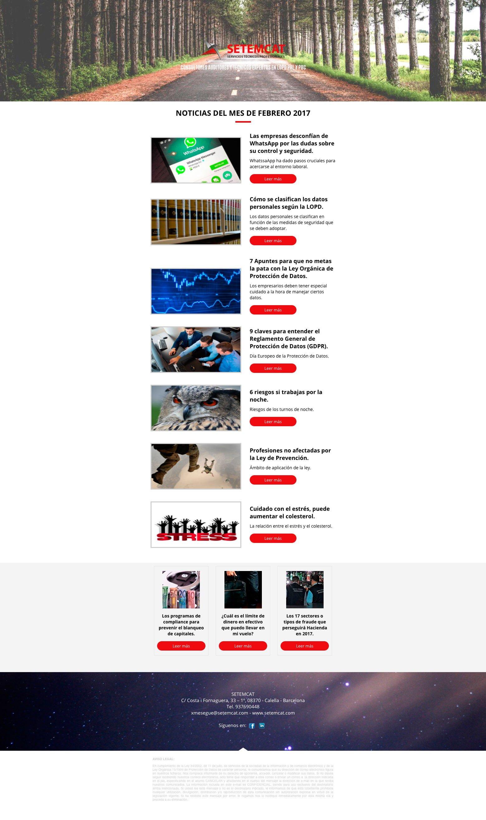 Boletín de Notícias Setemcat - Febrero 2017